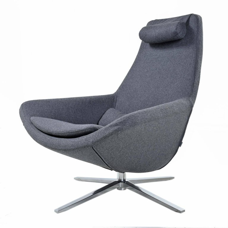 b b italia metropolitan swivel chrome base modern grey lounge chair furnish me vintage. Black Bedroom Furniture Sets. Home Design Ideas