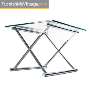 Mies Van Der Rohe Glass and Chrome End Table