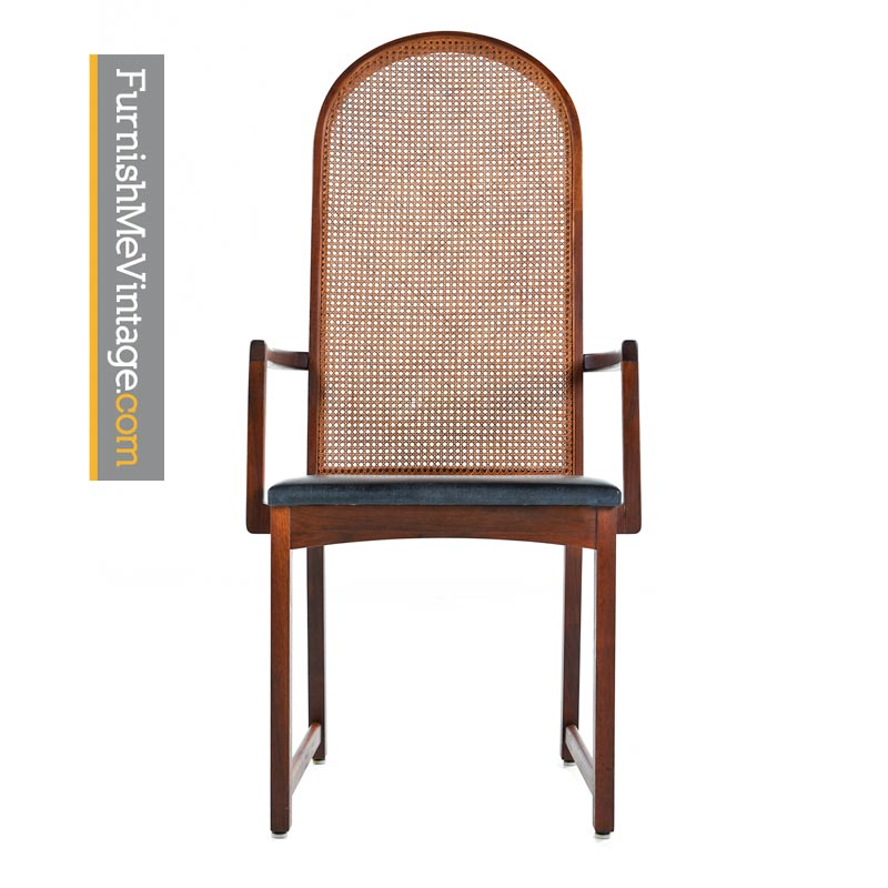 Milo Baughman For Dillingham Walnut Cane Back Dining Chairs