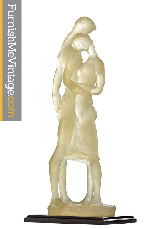 Modern Resin Sculpture 1970s Lovers Embrace Figural Statue
