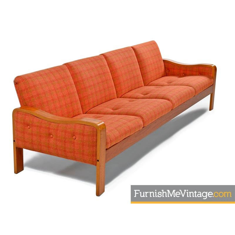 Scandinavian Modern Orange Wool Danish Teak Sofa Couch Thonet