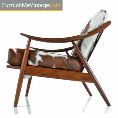 peter hvidt,lounge chair,cowhide leather,danish lounge chair,modern,vintage