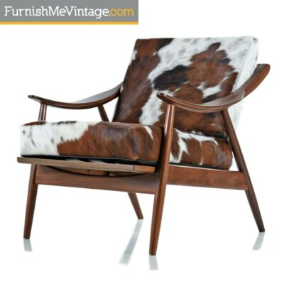 Restored Peter Hvidt Style Sloped Arm Black Walnut Lounge Chair in Cowhide