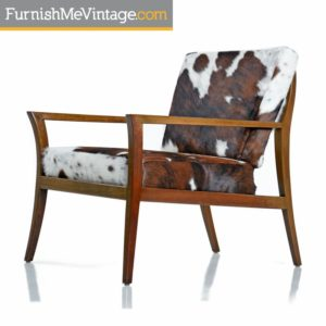 Restored Robsjohn-Gibbings Style Flared Arm Mahogany Lounge Chair in Cowhide