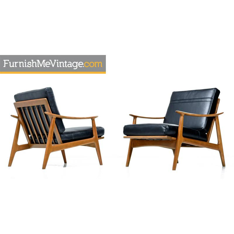 Illum Wikkelso Teak And Leather Chairs