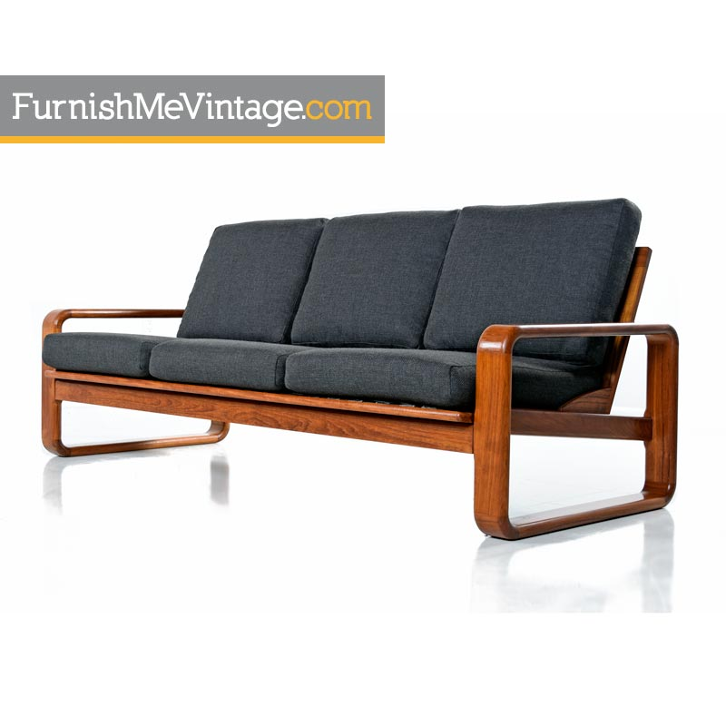 vintage 1980s teak sofa in gray fabric