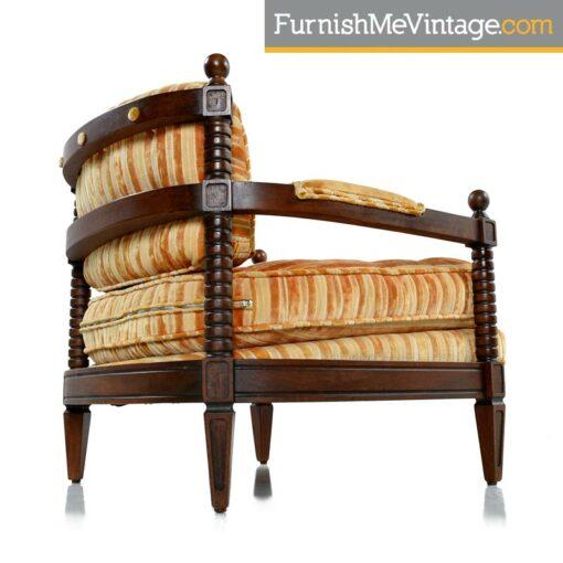mediterranean striped velour armchairs