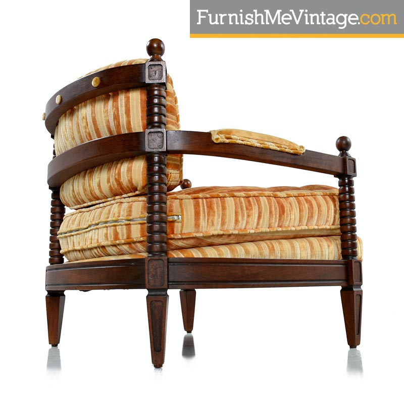 Superieur Mediterranean Striped Velour Armchairs