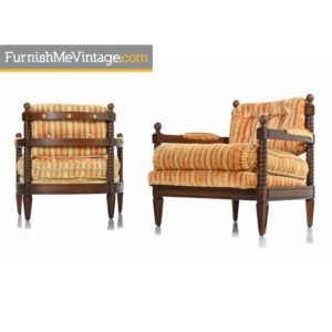 Pair of Spanish Mediterranean Style Original Striped Velour Armchairs