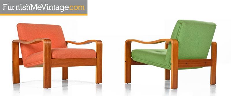Vintage , 1970s Original Scandinavian Bent Teak Wool Upholstered Lounge  Chairs
