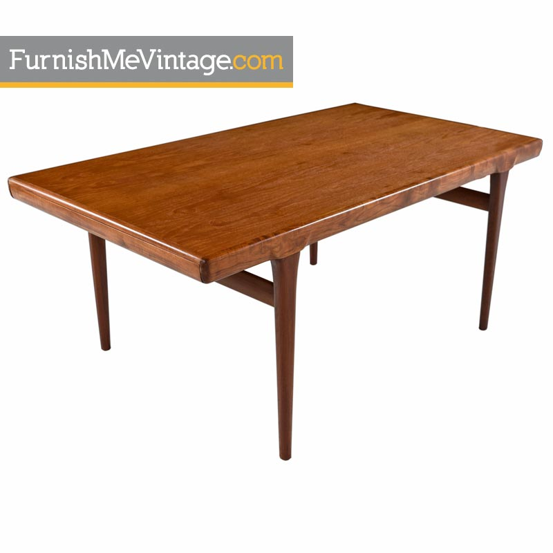 Large Scandinavian Modern Teak Draw Leaf Expanding Dining Table - Teak dining table with leaf