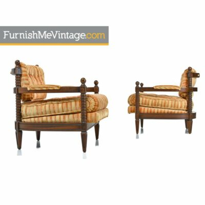 Pair of Spanish Mediterranean Striped Velour Armchairs