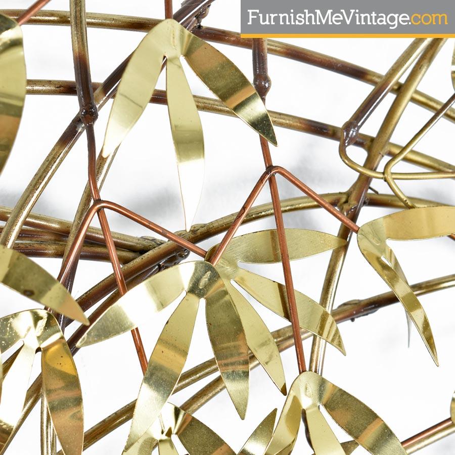 Curtis Jere Brass Bamboo Tree Leaf Wall Art Sculpture