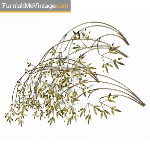 Curtis Jere Bamboo Brass Tree Leaf Wall Art Sculpture