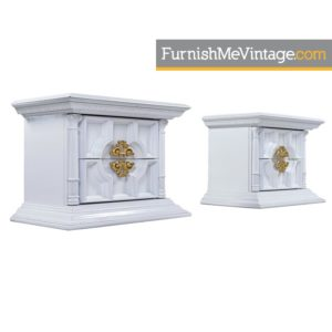 White Lacquer Hollywood Regency Monumental Greek Revival End Table Nightstands