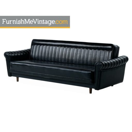 Black Vinyl Convertible Harvey Probber Style Vintage Sofa Sleeper