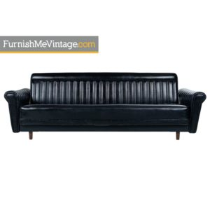Black Vinyl Convertible Harvey Probber Style Sofa Sleeper Couch Made in Japan