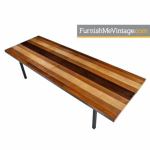 Milo Baughman for Dillingham Multi-Veneer Rosewood and Walnut Dining Table