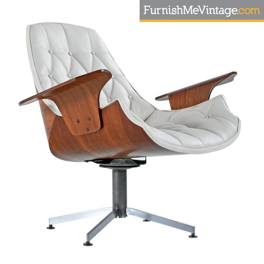 mulhauserplycraftbent plydanishmodernlounge chair  sc 1 st  Furnish Me Vintage & Mulhauser Style Plycraft White Leather Tufted Lounge Chair
