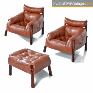 Percival Lafer MP-81 Brazilian Rosewood & Leather Lounge Chairs