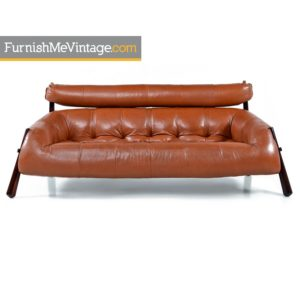 Percival Lafer MP-81 Brazilian Rosewood and Cognac Leather Three-Seat Sofa Couch
