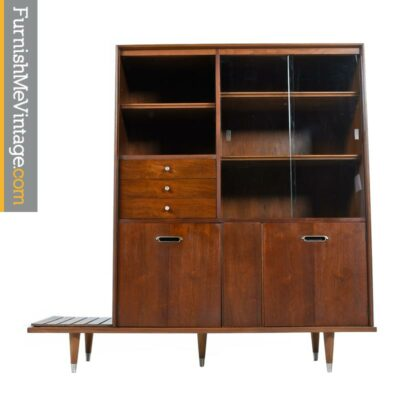 Two Piece Walnut Asian Modern China Hutch With Bench / Planter By B.P. John
