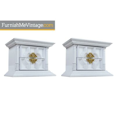 hollywood-regency,white lacquer,end tables