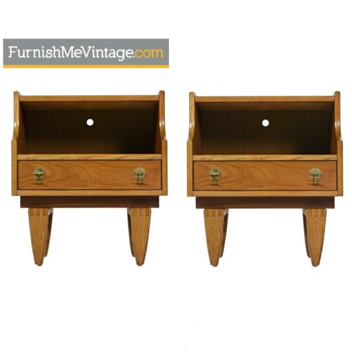Stanley Nightstand End Tables with Brass Pulls - Mid Century Modern