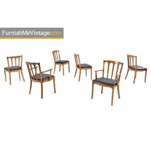 "Set of (6) Solid Walnut Black Vinyl Seat ""Horizon"" by Thomasville Dining Chairs"