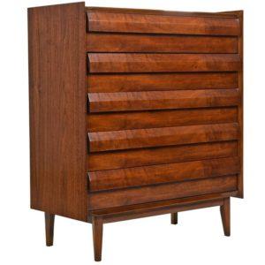 Lane First Edition Mid Century Modern Walnut Highboy Dresser