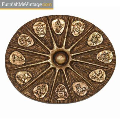 Brutalist Zodiac Wall Sculpture by J. Segura - Gold Tone Fiberglass