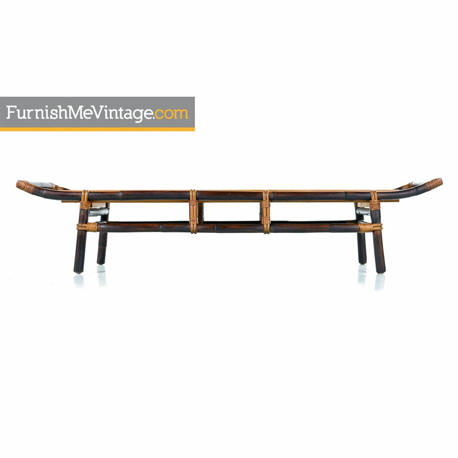 John Wisner For Ficks Reed Asian Modern Rattan Bamboo Pagoda Coffee Table on Ficks Reed Rattan Coffee Table
