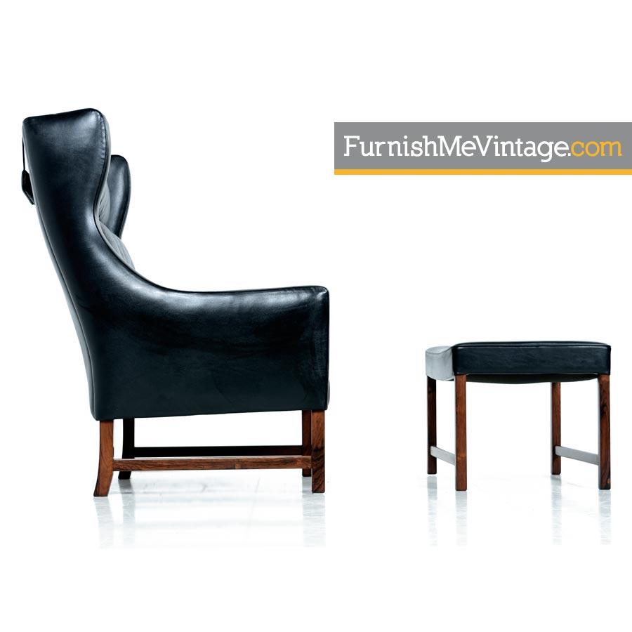 arm chair Borge Mogensen leather lounge chair ottoman rosewood  sc 1 st  Furnish Me Vintage & Borge Mogensen Black Leather u0026 Rosewood Lounge Chair and Ottoman