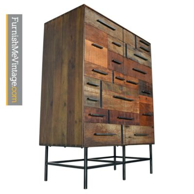 Rochdale Spears Russell Industrial Brutalist Patchwork Armoire Cabinet