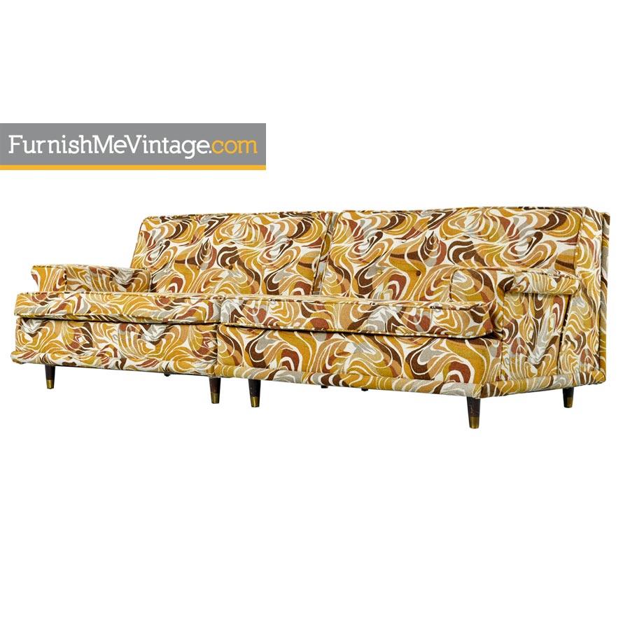 Original Two-Piece Vintage Abstract Print Modular Settee Sofa Seating Group