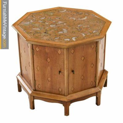Thomasville Horizon Commode Cabinet - Marble Top With Brass Pulls