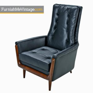 Restored Adrian Pearsall Style Black Leather Highback Tufted Lounge Chair