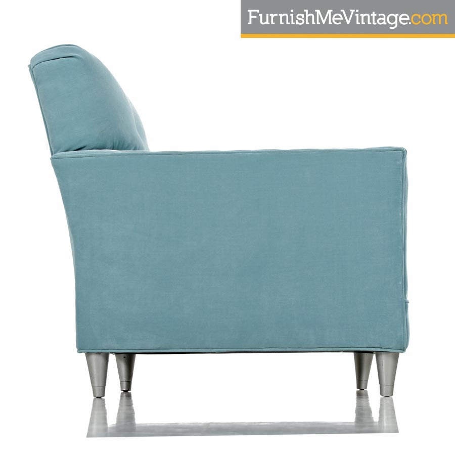 Gentil Mid Century Modern Robinu0027s Egg Blue Velvet Club Lounge Chair ...