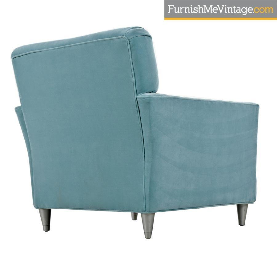 Mid Century Modern Robinu0027s Egg Blue Velvet Club Lounge Chair ...