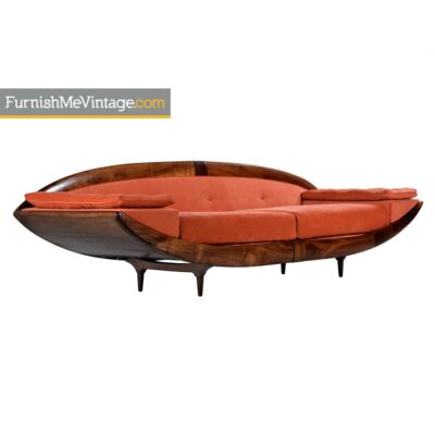 Adrian Pearsall Asian Modern Walnut Gondola Couch