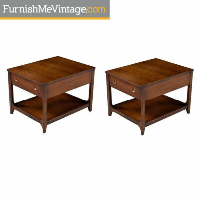 mid-century modern walnut Broyhill Brasilia chairiside tables
