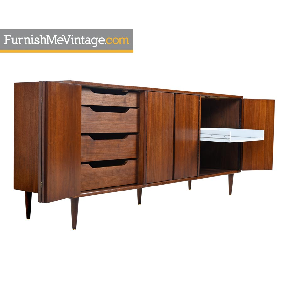 Credenza Media Cabinet by Foster-McDavid Danish Modern Walnut on mid century modern 9 drawer dresser, jesper credenza office storage wood, mid century wood furniture,