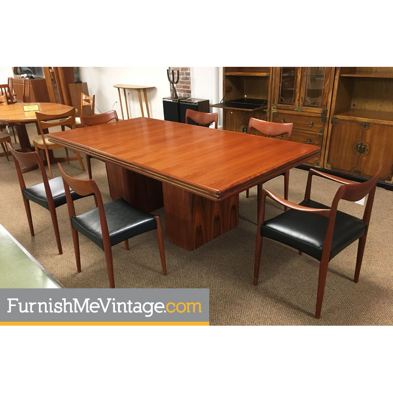 Danish Modern Rosewood And Br Pedestal Dining Table