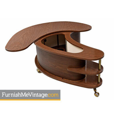 Grand Server Boomerang Kidney Bar - Locking Walnut Cabinet on Casters