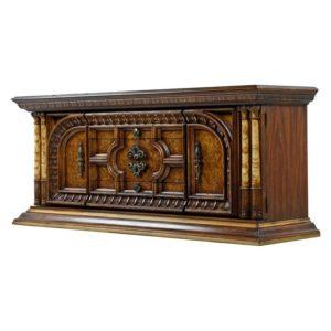 Hollywood Regency Greek Revival Burl Wood Buffet
