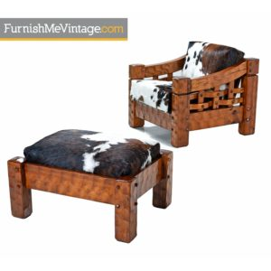 Solid Pine Rustic Leather Cowhide Lounge Chair & Ottoman