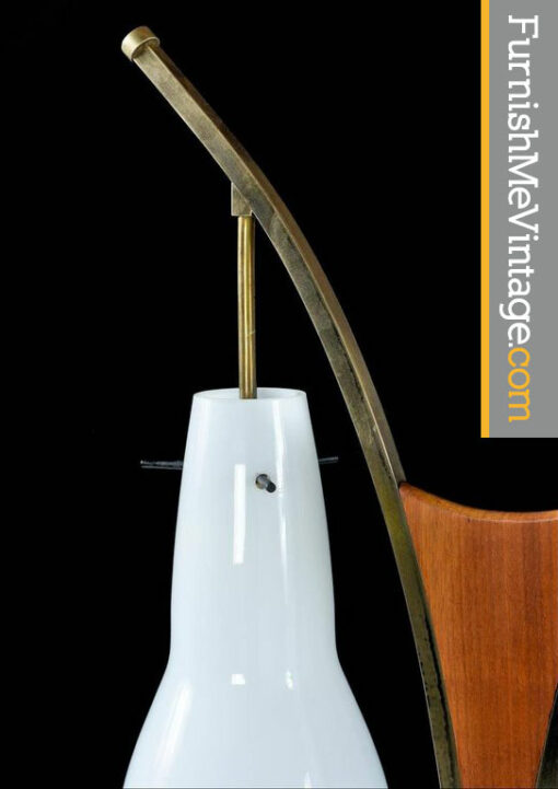 modeline brass and walnut mid century lamp