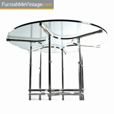 milo baughman,modern,chrome,glass,dining table