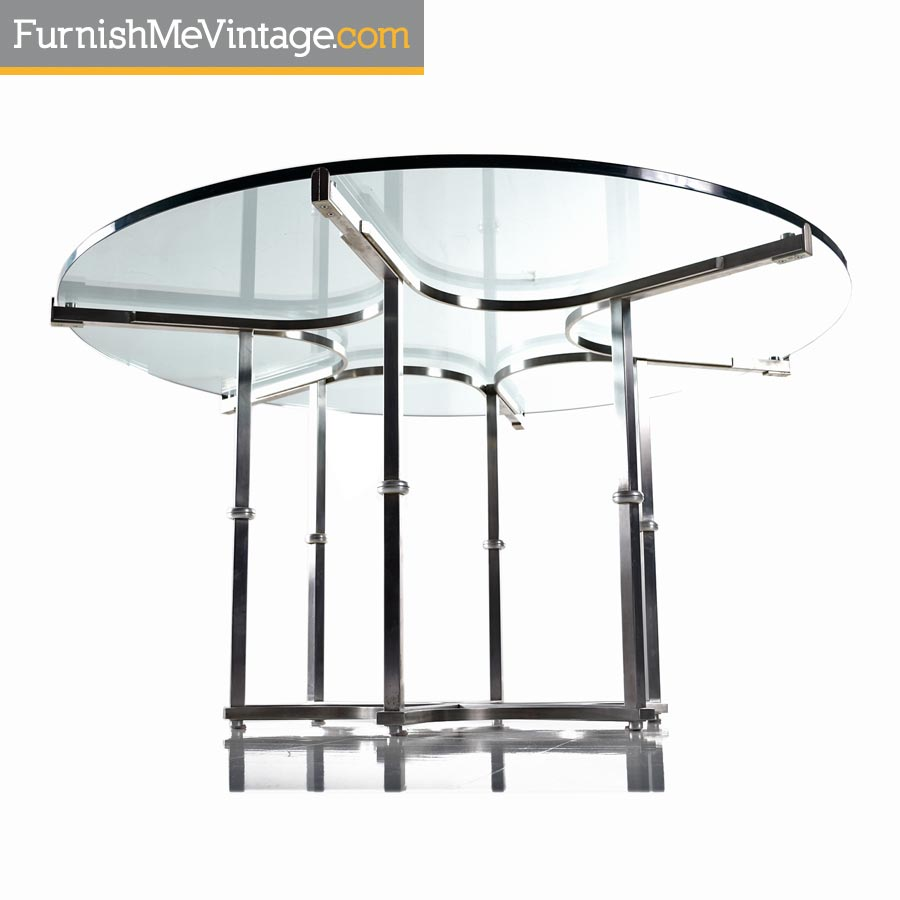 Baughman Style Chrome and Glass Modern Round Dining Table