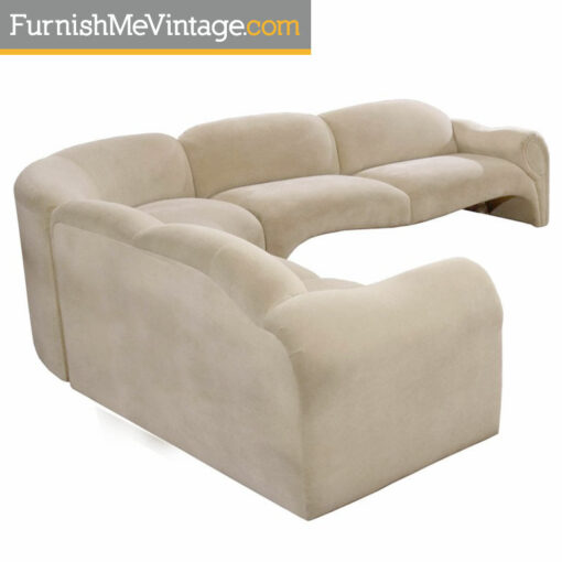 couch,kagan,microfiber,milo baughman,modern,deco sectional sofa